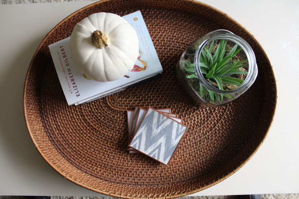 glass and copper coaster set