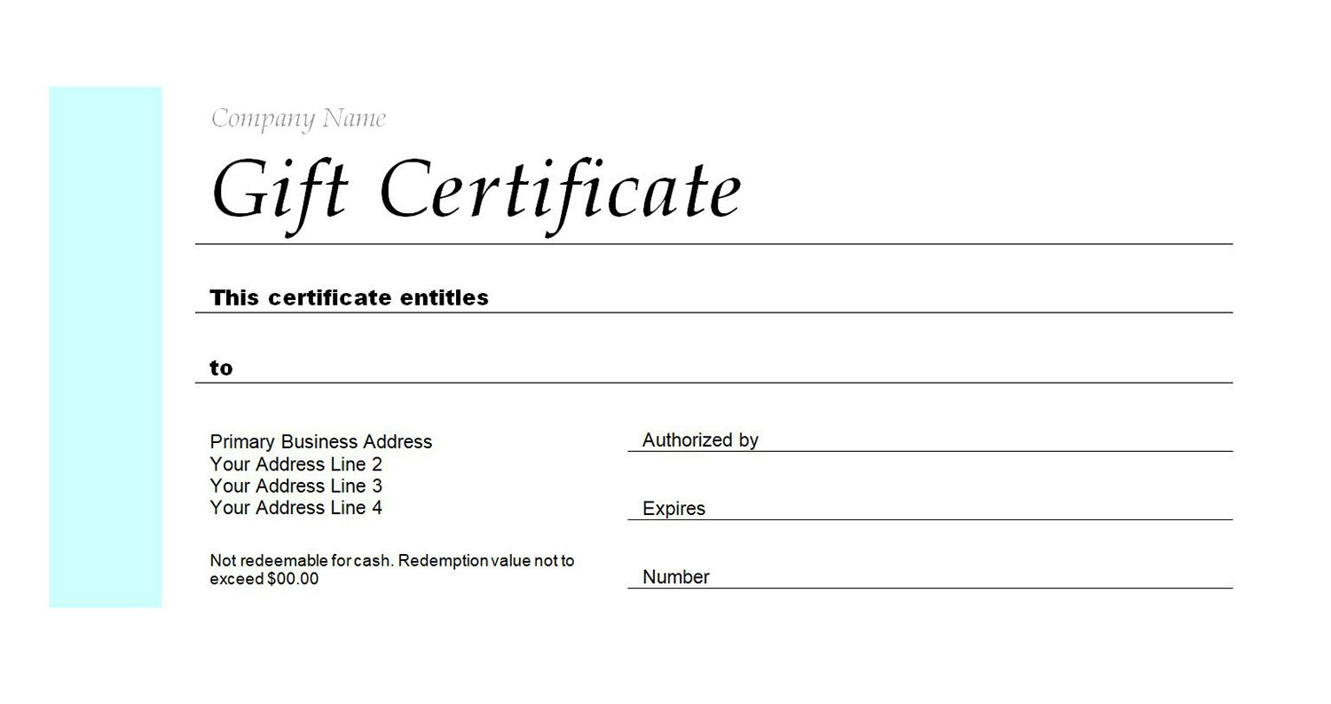 A Gift Certificate Template For Company