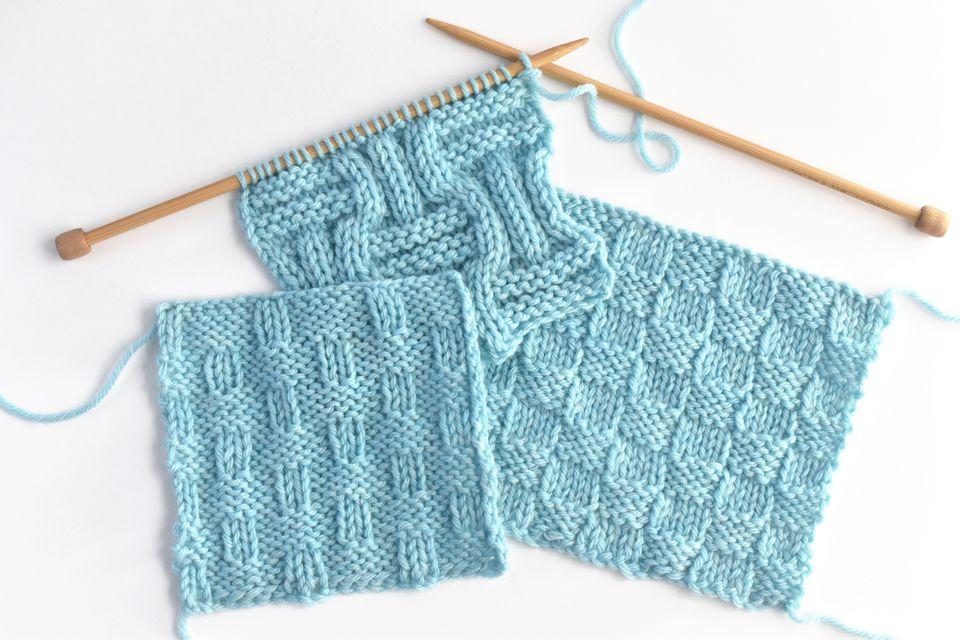 Basketweave Knitting Stitch Variation Swatches