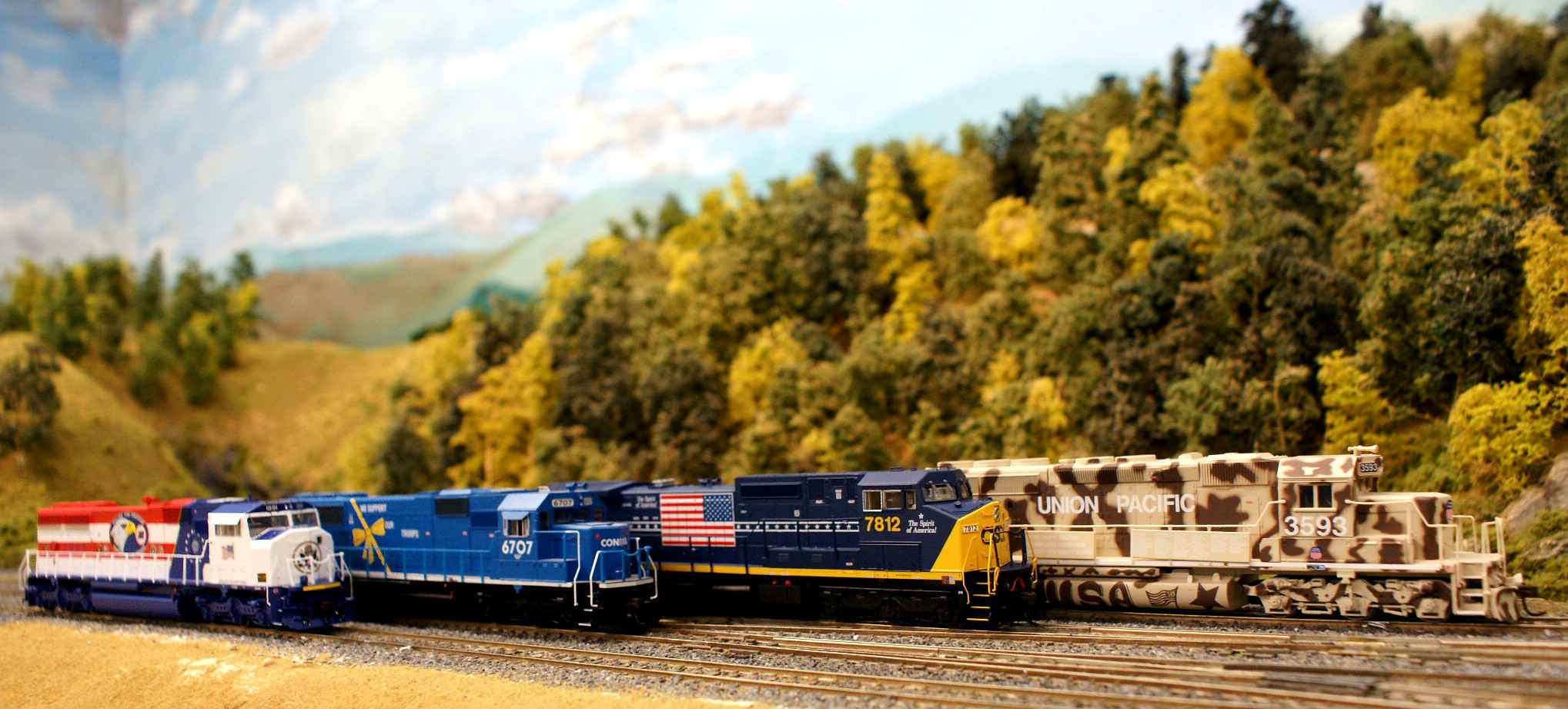 Athearn and Atlas have produced models of all four special locomotives painted in honor of Desert Storm servicemen