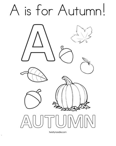 Twisty Noodles Fall Coloring Pages An A Is For Autumn Sheet
