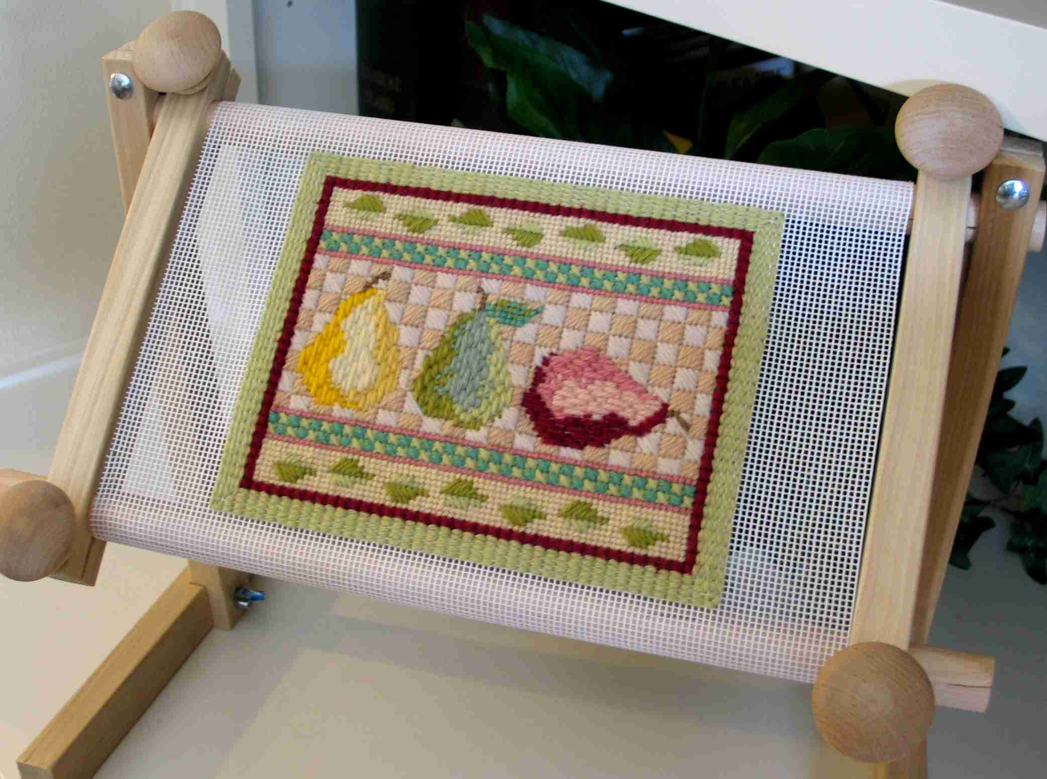 Pear Trio Needlepoint in Scroll Frame