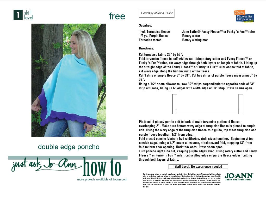 How toSew a Poncho - A Dozen Free Patterns and Instructions