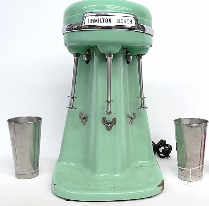 Milkshake Mixer by Hamilton Beach With Three Spindles and Porcelain Finish
