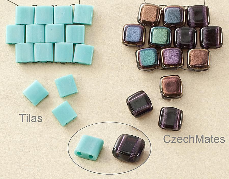 Comparison of tile beads: Tila and CzechMates tiles
