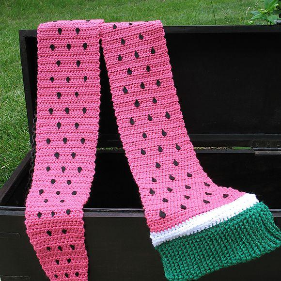 Crochet Watermelon Scarf