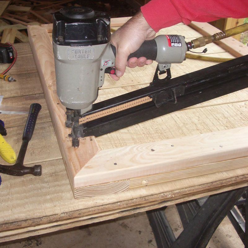 using a nail gun on the trim