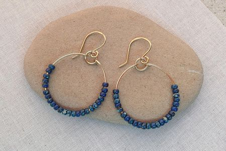 Gold Wire Hoop Earrings With 8 0 Blue Pico Finish Seed Beads