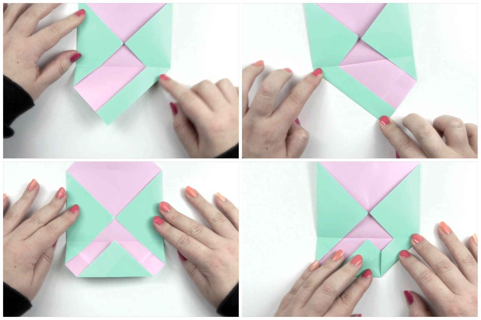 Folding the flap of an origami envelope