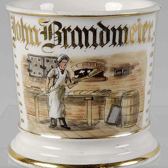 Tressemann & Vogt Limoges Shaving Mug Featuring Bakery Shop