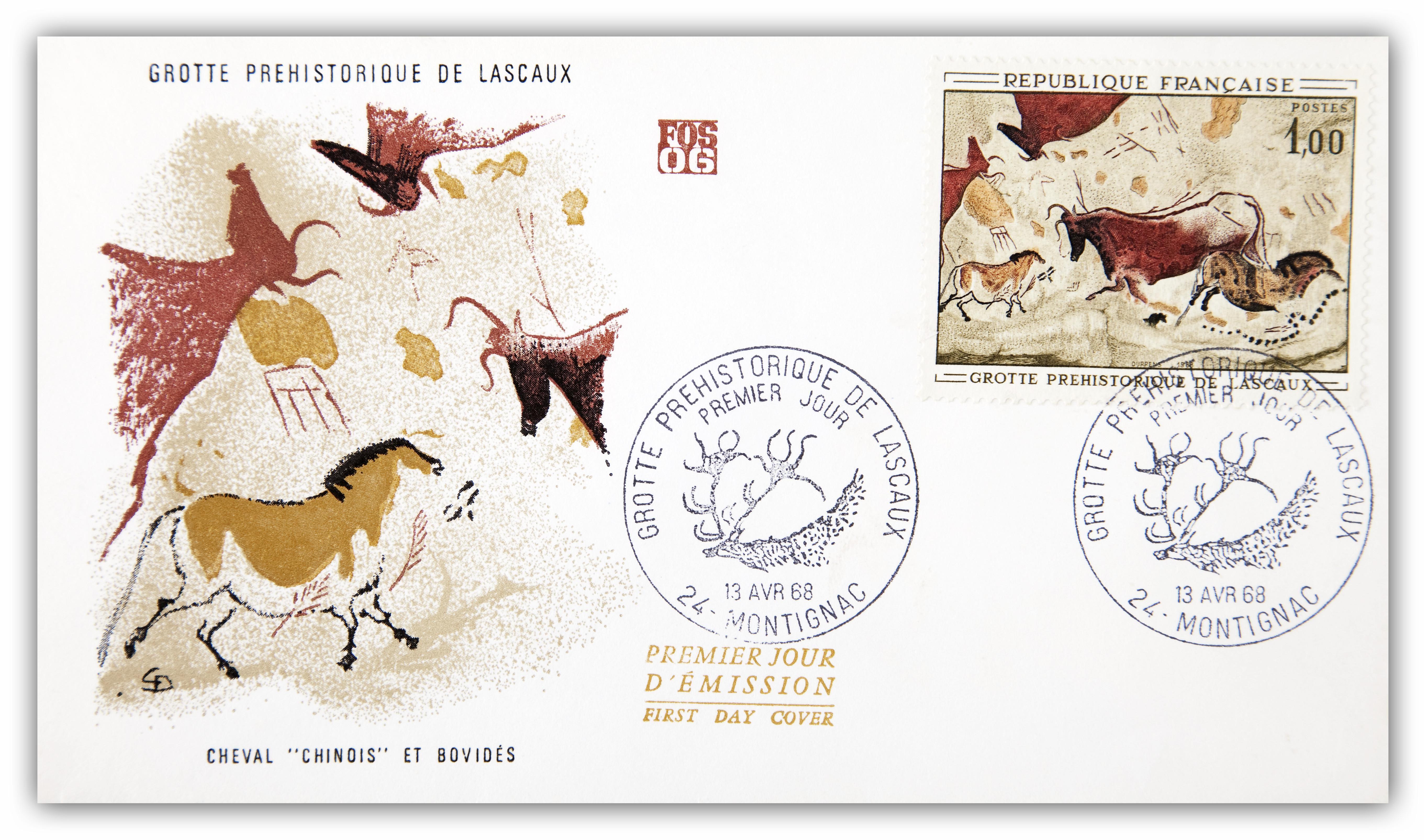 First day cover, Grotte Prehistorique de Lascaux, France, 13th April 1968