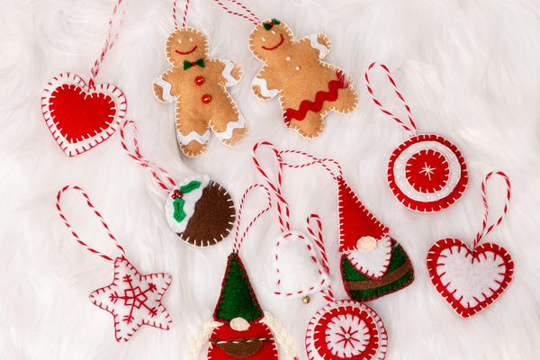 Felt gnomes, gingerbread men and other festive shapes.