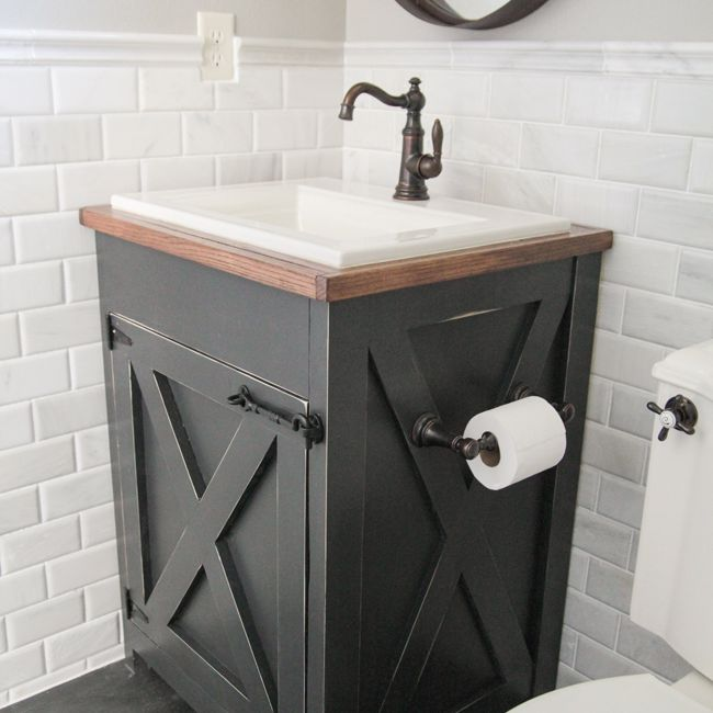 A Farmhouse Style Diy Bathroom Vanity