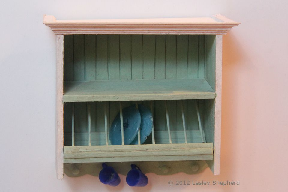 Dollhouse kitchen plate rack cabinet with hooks for cups