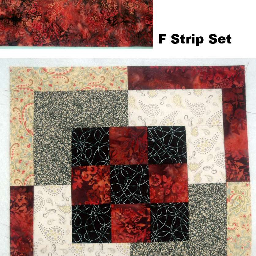 Sew F strip sets and segments