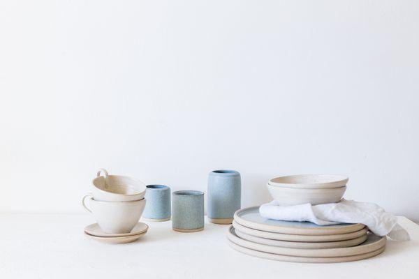 Plates, dishes, bowls and vase arrangement