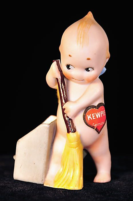 Antique Kewpie with Broom and Dustbin, c. 1915