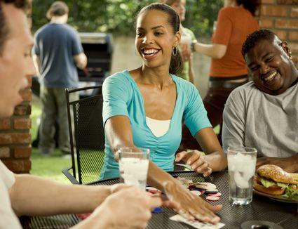 Woman winning at poker