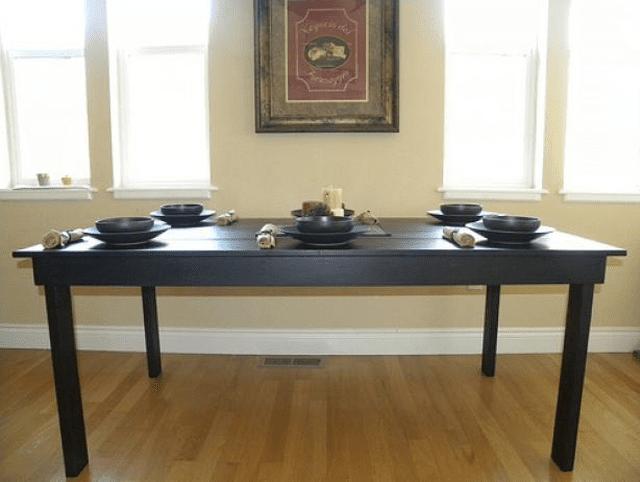 A dark wood farmhouse table