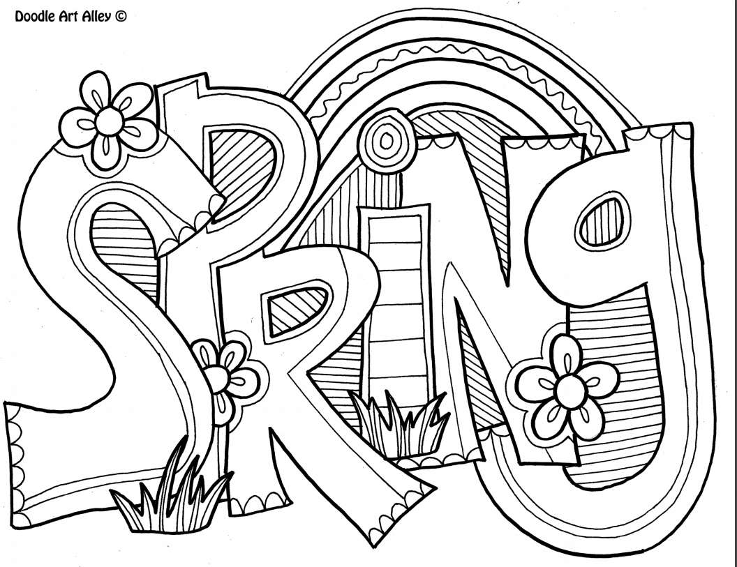 "A coloring sheet that says ""spring"""