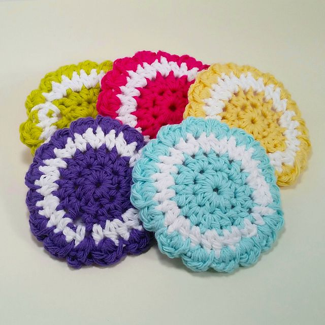 Dish Scrubby Reusable Crochet Scrubbies Thick and Druable Purple and White Jelly Polyester Yarn Scrubber