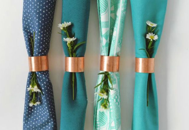 copper fitting napkin rings