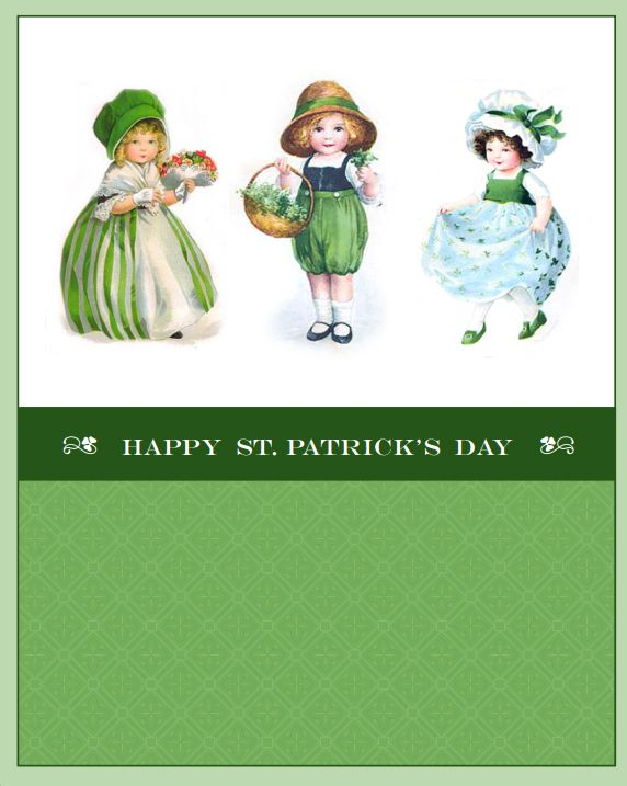 A Happy St. Patrick's Day card with vintage images.