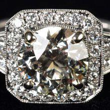 Ring with millegrain setting, 3 ct. center diamond set in 14K white gold