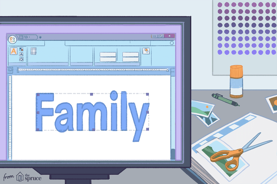 "Illustration of the word ""family"" on computer screen"