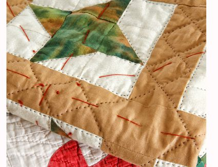 Quilt with Basting Stitches