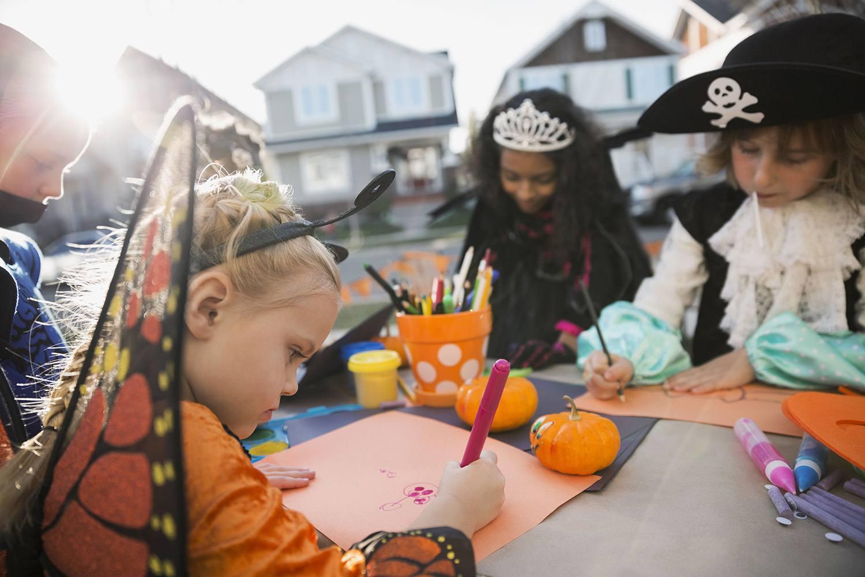 Kids in Halloween Costumes Coloring