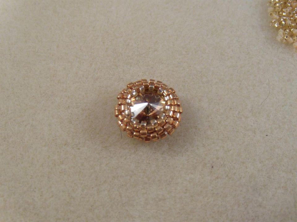 Rivoli Crystal With Peyote Stitch Bezel