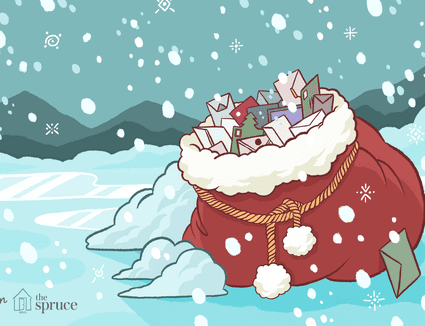 Illustration of a Santa bag filled with all sorts of letters