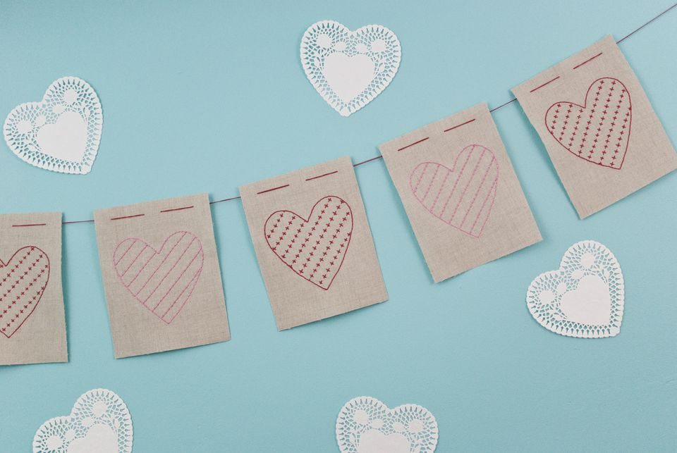 Embroidered Linen Heart Garland