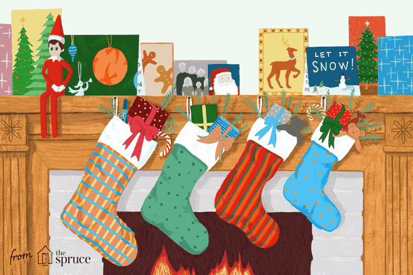 Illustration of mantel decorated for Christmas