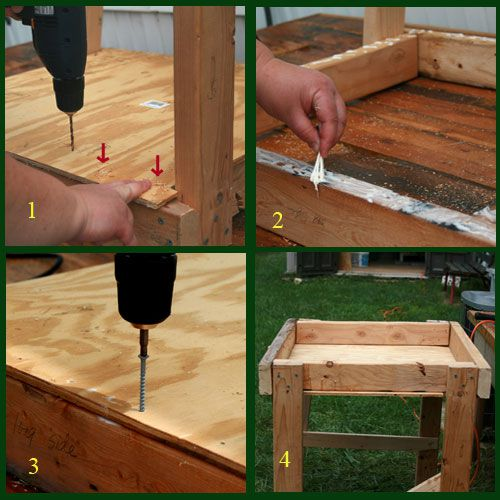 Complete the frame of the wedging table.
