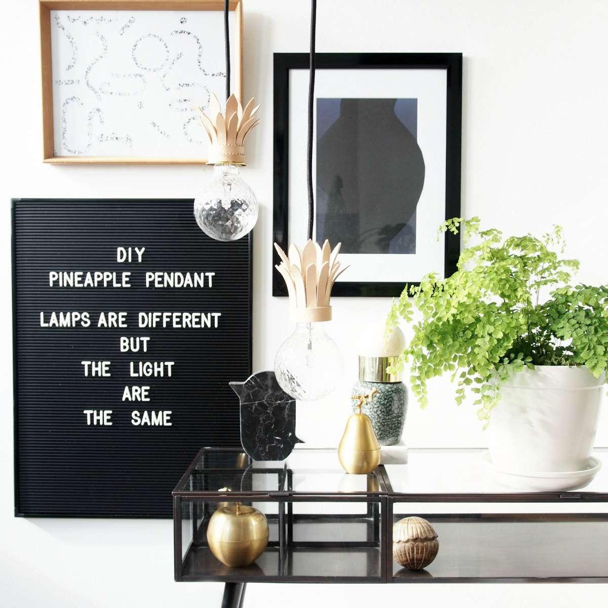 DIY Pineapple Pendant Light