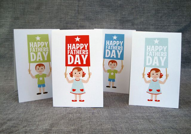 Happy Father's Day Greeting Cards in Four Different Colors.