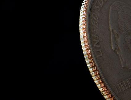 Close-up view of a quarter.