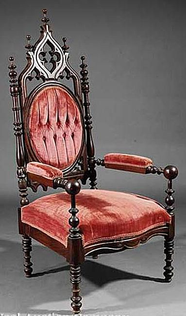 Victorian Gothic Revival Upholstered Chair