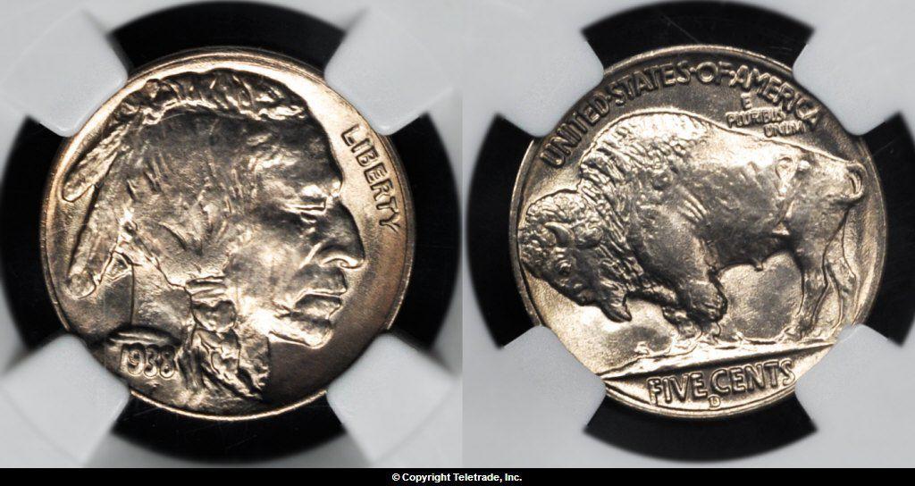 Buffalo Nickel graded Mint State 67 (MS67)