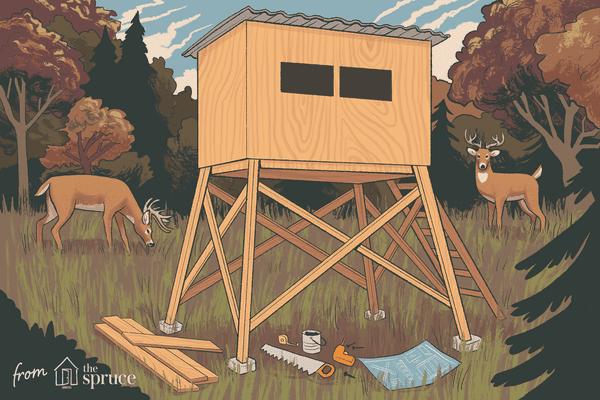 illustration of a deer stand being built