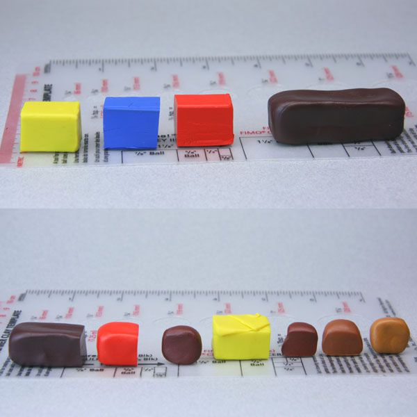 Various blends of brown polymer clay for dollhouse food made by blending red, yellow and blue.