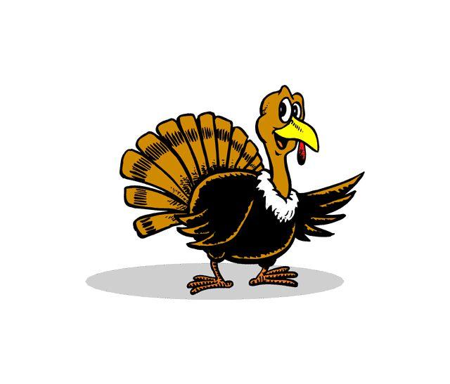 A happy turkey waving