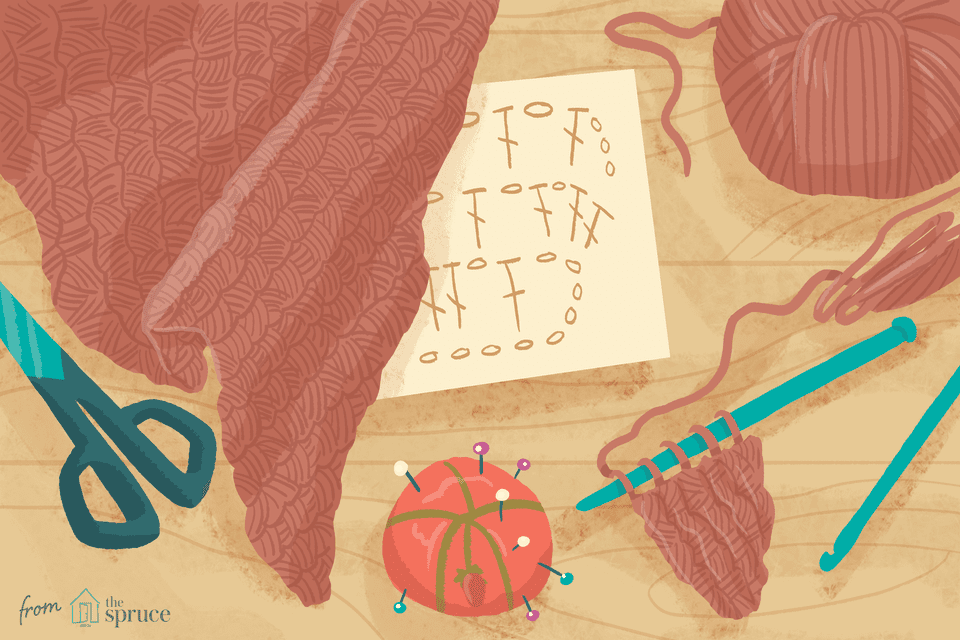 Illustration of a crochet shawl