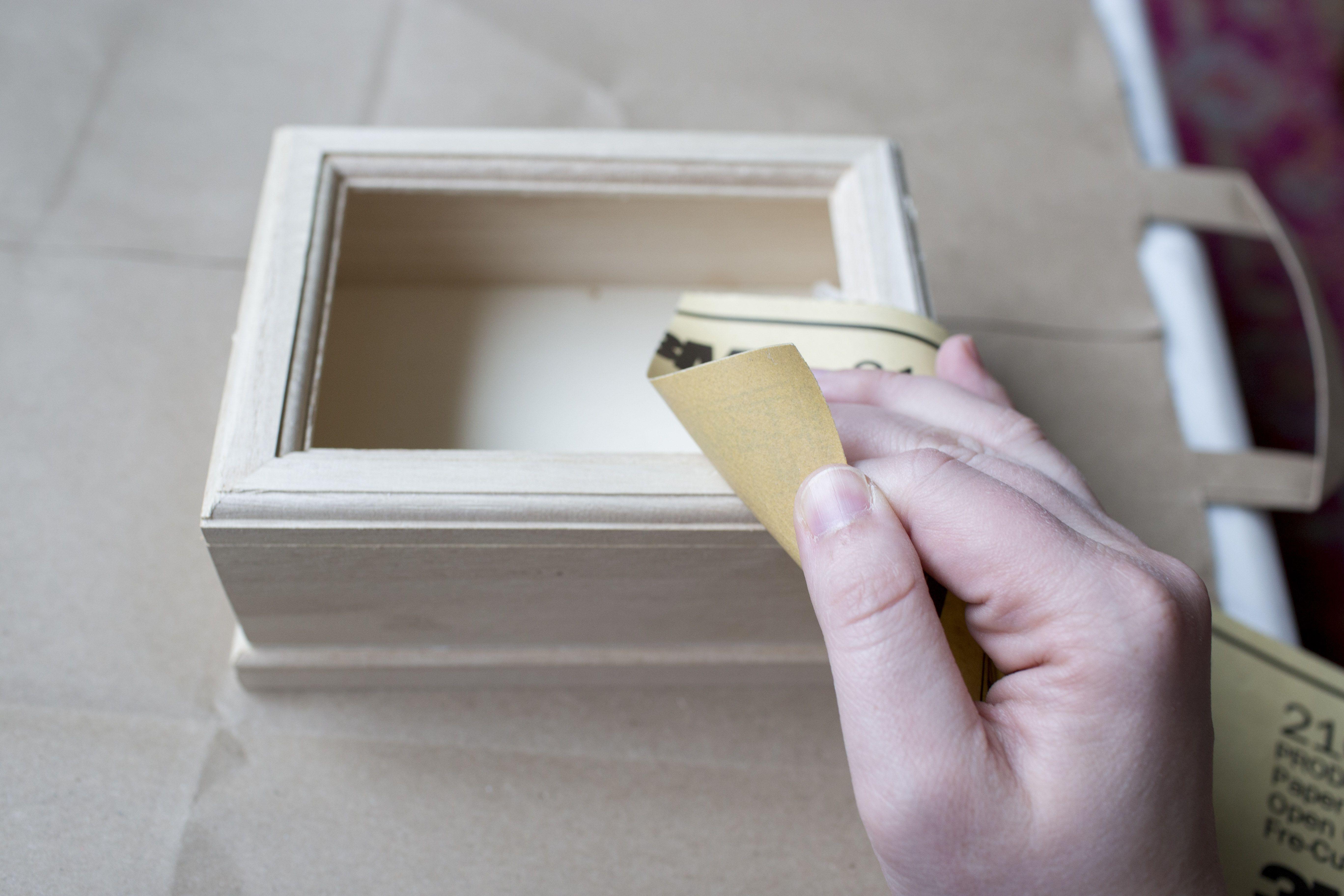 Sanding the jewelry box