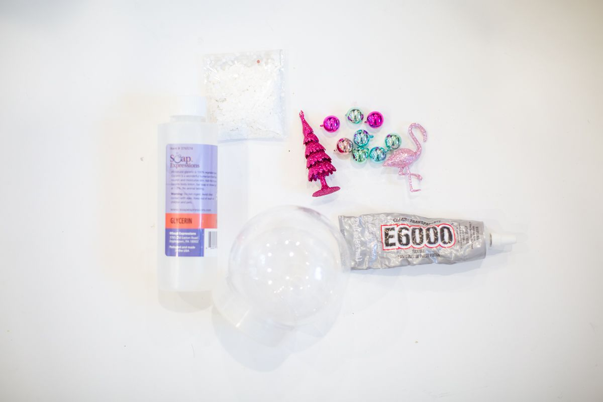 Materials for making a DIY snow globe