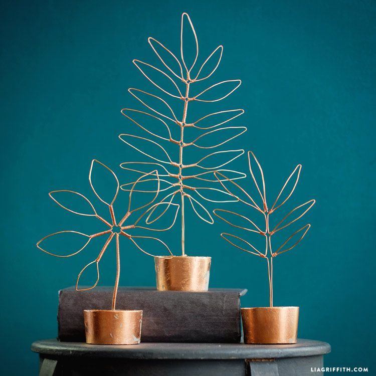 copper wire leaf sculptures