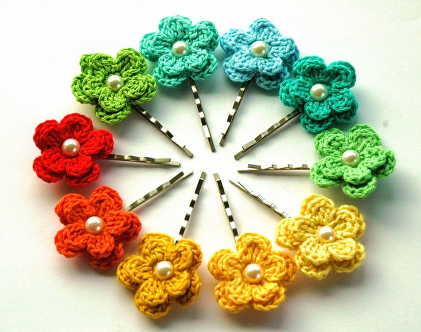 Spring Crochet Flower Hair Clips