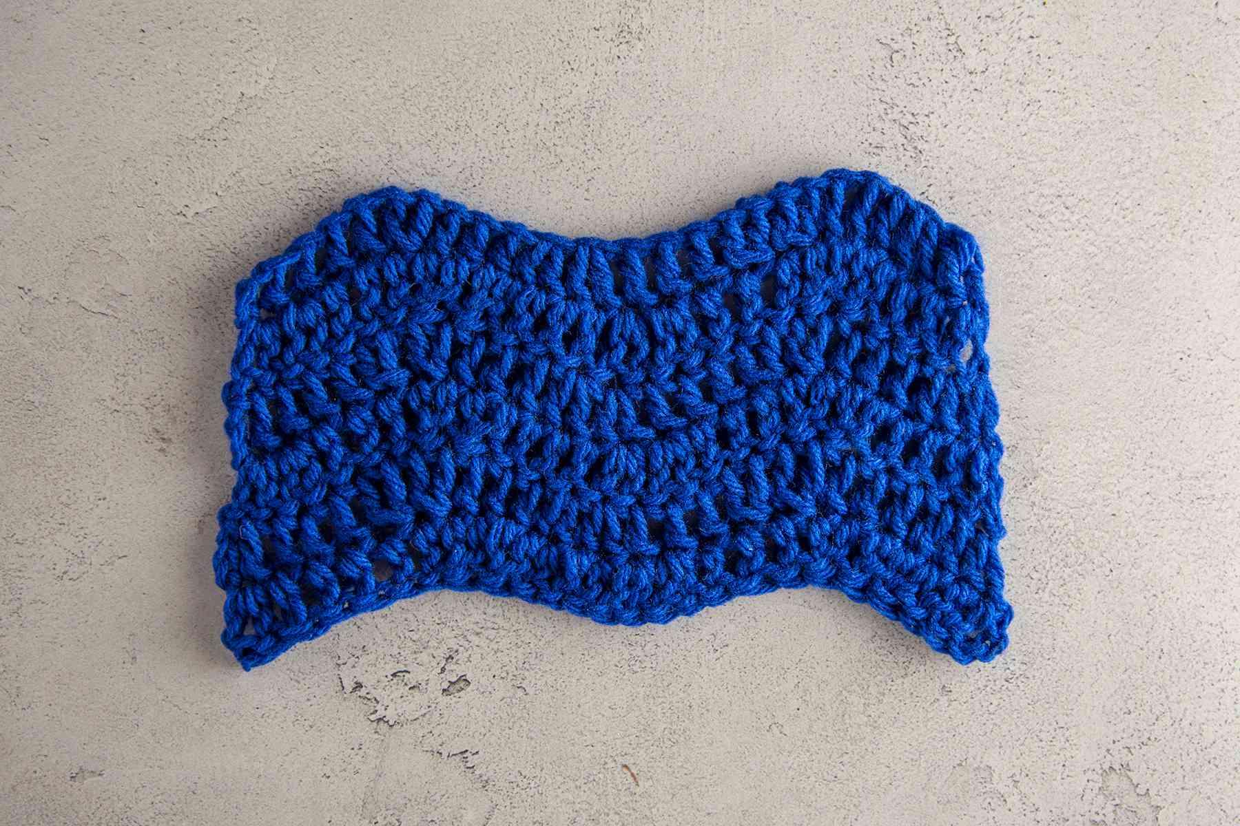 A crochet ripple stitch swatch